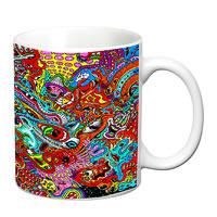 Prithish Psychedelic Design White Mug