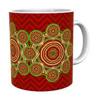 Kolorobia Bold Red Madhubani Classic White Mug