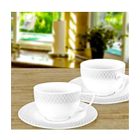 Wilmax ENGLAND Fine Porcelain Julia Coffee Cup, 90 ml and Saucer (White) - ...