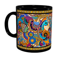 Kolorobia Colourful Peacock Classic Black Mug