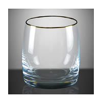 Bohemia Crystal Ideal Whiskey Glass Gold Rim, 290 ml - set of 6