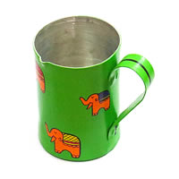 ScrapShala Hand-Painted Elephant Themed Tea Serving Litre Mug - Green and ...