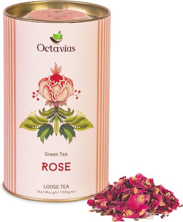 Octavius Rose Green Tea, Loose Whole Leaf 100 gm Premium Gift Caddy