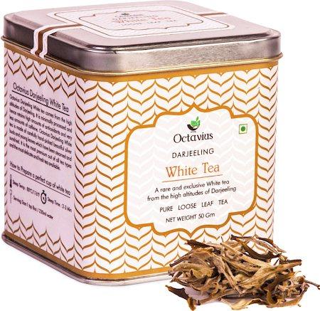 Octavius Darjeeling Silver Needle White Tea, Loose Whole Leaf 50 gm Premium Caddy