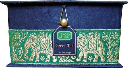 Bagan Green Tea Gift Box - Black Paper, Green Elephant Zari Lace (25 tea bags)