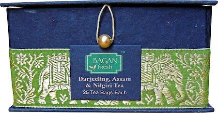 Bagan Darjeeling-Assam-Nilgiri Tea Combo - Black Gift Box, Golden Zari Lace (75 tea bags)