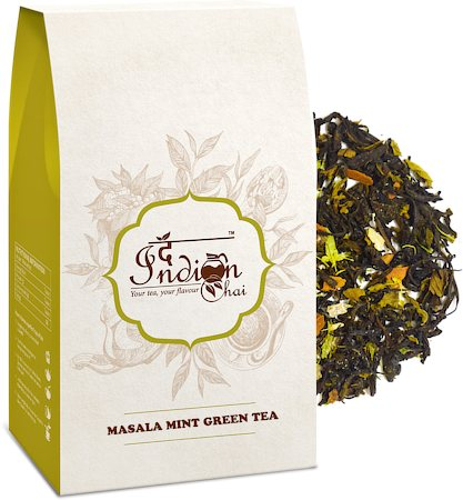 The Indian Chai - Exotic Masala Mint Green Tea, Loose Whole Leaf 100 gm