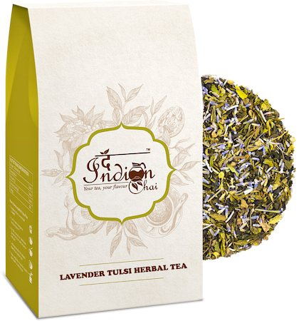The Indian Chai - Lavender Tulsi Herbal Green Tea (Stress Relieving), 100 gm