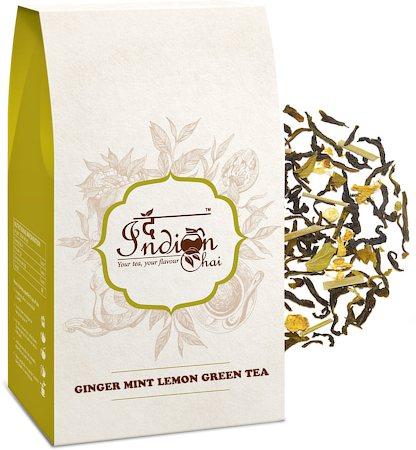 The Indian Chai - Ginger Mint Lemon Green Tea (Premium Darjeeling), 100 gm