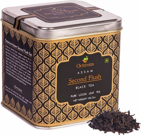 Octavius Assam Second Flush Black Tea, Loose Whole Leaf 100 gm Premium Caddy