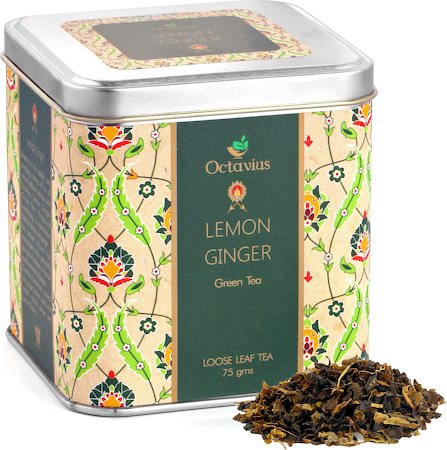 Octavius Green Tea with Lemon and Ginger Flavour, Loose Leaf 75 gm Premium Caddy