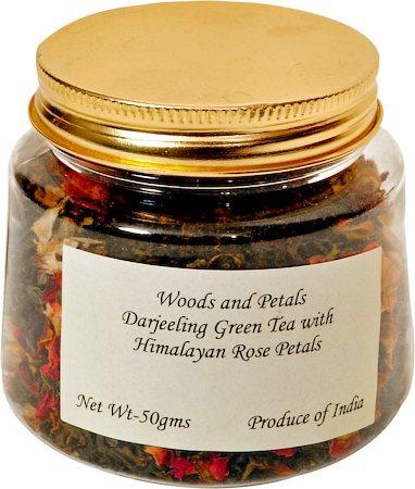 Woods and Petals Darjeeling Green Tea with Himalayan Rose Petals, Loose Leaf 50 gm