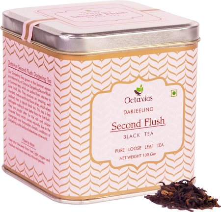 Octavius Darjeeling Second Flush Black Tea, Loose Whole Leaf 100 gm Premium Caddy