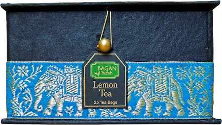Bagan Lemon Tea Gift Box - Black Paper, Terquoise Elephant Zari Lace (25 tea bags)