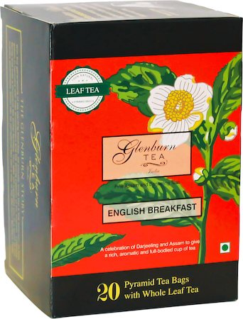 Glenburn English Breakfast Blend Tea, Whole Leaf (20 Pyramid tea bags)