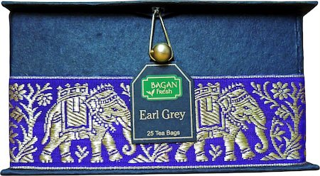 Bagan Earl Grey Tea Gift Box - Black Paper, Purple Elephant Zari Lace (25 tea bags)