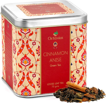 Octavius Green Tea with Cinnamon and Anise Flavour, Loose Leaf 75 gm Premium Caddy