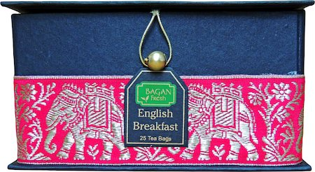 Bagan English Breakfast Tea Gift Box - Black Paper, Pink Paisley Zari Lace (25 tea bags)