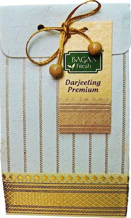 Bagan Premium Darjeeling Tea Gift Pack - Cream Paper with Zari Lace, 100 gm