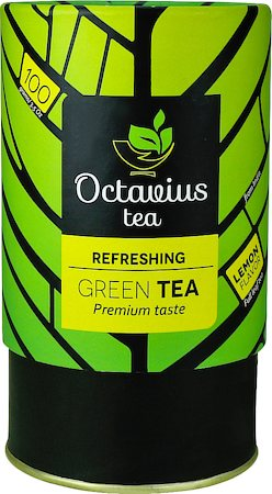 Octavius Whole Leaf Lemon Green Tea - Vibrant Gift Caddy, 100 gm