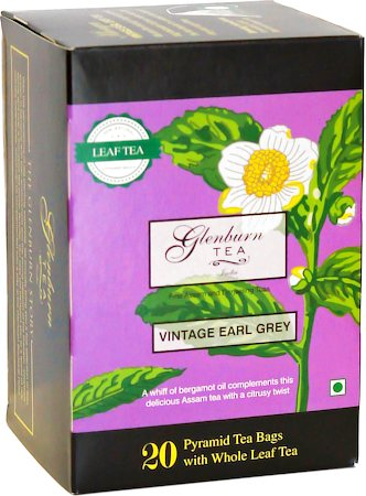 Glenburn Vintage Earl Grey Tea, Whole Leaf (20 Pyramid tea bag)
