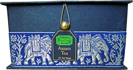 Bagan Assam Tea Gift Box - Black Paper, Navy Blue Elephant Zari Lace (25 tea bags)