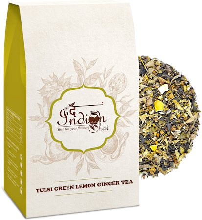The Indian Chai - Tulsi Lemon Ginger Green Tea (Stress Relieving), Loose Whole Leaf 100 gm