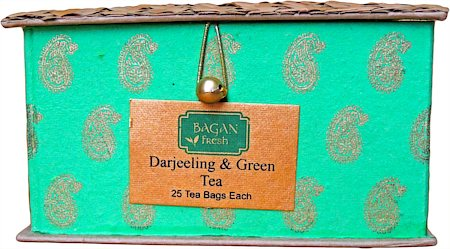 Bagan Darjeeling, Assam Tea Twin Pack - Green Gift Box with Bamboo Mat (50 tea bags)