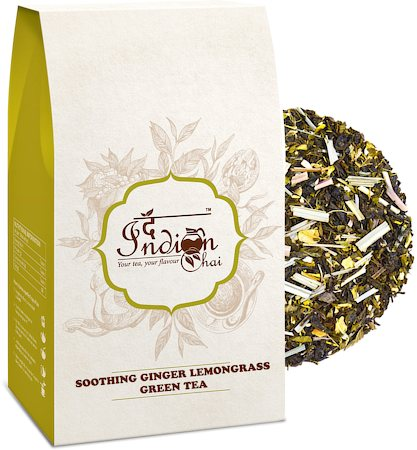 The Indian Chai - Soothing Ginger Lemongrass Green Tea, Loose Whole Leaf 100 gm