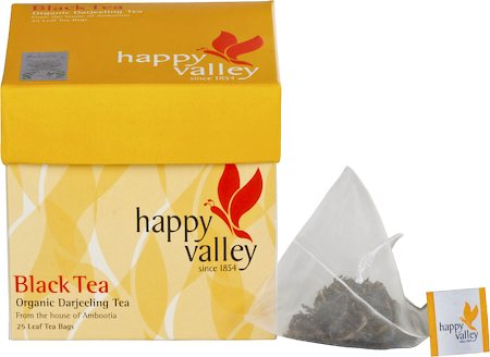 Happy Valley Organic Darjeeling Black Tea, Whole Leaf (25 Pyramid tea bags)