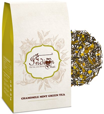 The Indian Chai - Premium Chamomile Mint Green Tea, Loose Whole Leaf 100 gm