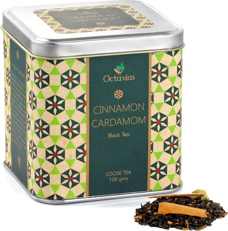 Octavius Black Tea with Cinnamon and Cardamom Flavour, Loose Leaf 100 gm Premium Caddy