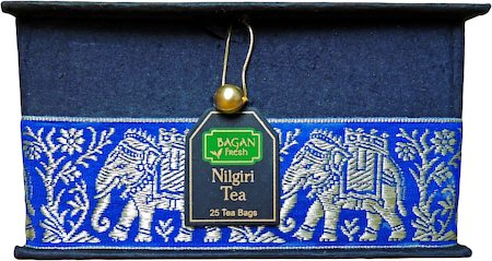 Bagan Nilgiri Tea Gift Box - Black Paper, Royal Blue Elephant Zari Lace (25 tea bags)