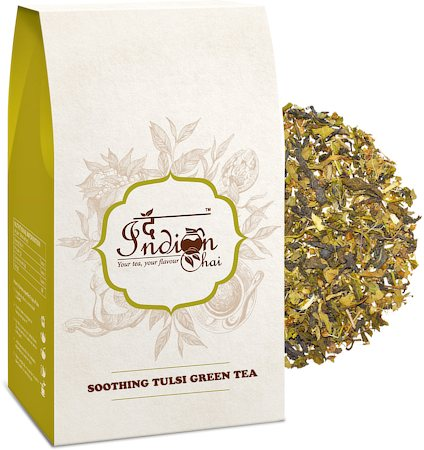 The Indian Chai - Soothing Tulsi Green Tea, Loose Whole Leaf 100 gm