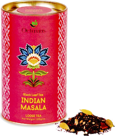 Octavius Loose Black Tea with Indian Masala Flavour, 100 gm Caddy