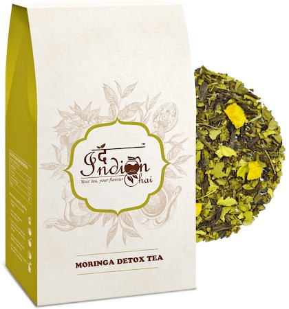 The Indian Chai - Moringa Detox Green Tea (with Amla & Tulsi), Loose Whole Leaf 100 gm