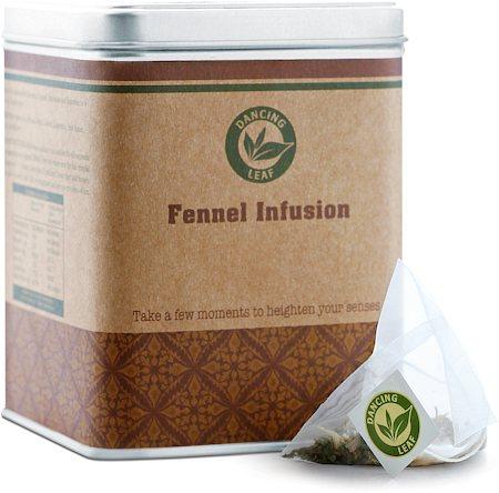 Dancing Leaf Fennel Infusion Green Tea Caddy (25 Pyramid tea bags)