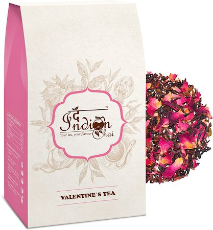 The Indian Chai - Valentines Rose Petals Black Tea, Loose Whole Leaf 100 gm