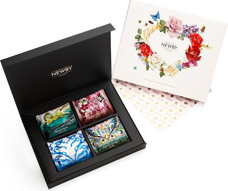 Newby From the Heart Silken Pyramids Selection - Gift Box (4x5 Pyramid tea bags)