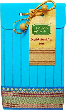 Bagan English Breakfast Tea Gift Pack - Turquoise Paper with Zari Lace, 100 gm