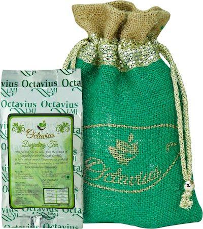 Octavius Whole Leaf Darjeeling Black Tea - Decorative Gift Jute Bag, 100 gm