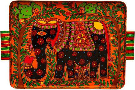 Kaushalam Hand-Painted Tray - Elephant, Multicolor