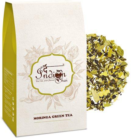 The Indian Chai - Moringa Green Tea, Loose Whole Leaf 100 gm