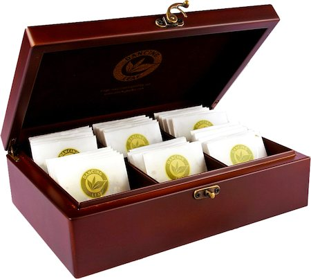 Dancing Leaf 6-Partition Wooden Box - Assorted Tea Gift Chest (36 Pyramid tea bags)