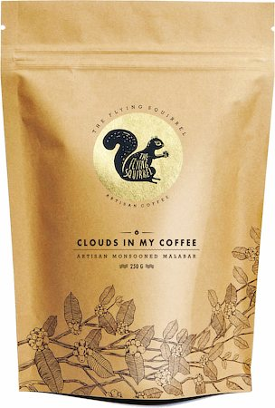 Flying Squirrel Clouds in My Coffee Artisan Monsooned Malabar, Whole Beans 250 gm