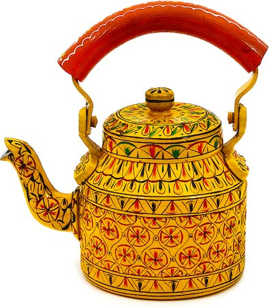 Kaushalam Hand-Painted Tea Kettle, Small - Yellow and Orange