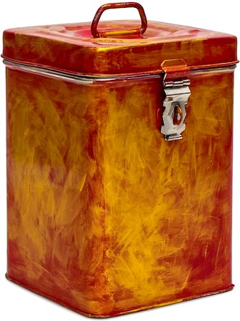 Kaushalam Hand-Painted Cookie Canister - Brush Strokes, Red and Gold