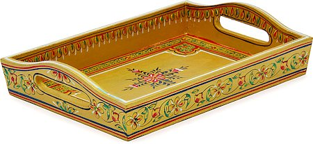 Kaushalam Hand-Painted Wooden Tray, Small - Beige
