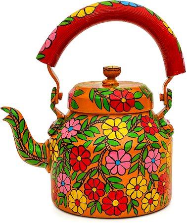 Kaushalam Hand-Painted Tea Kettle, Large - Bloom