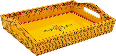Kaushalam Hand-Painted Wooden Tray, Small - Yellow